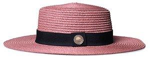Chapéu Palheta Rosa Palha Aba Maleável 8cm Palha Faixa Clássica