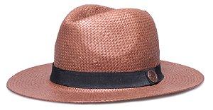 Chapéu Estilo Panamá Shantung Marrom Aba Reta 7cm Faixa Clássica