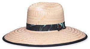 Chapéu de Palha Surf Aba Grande Tecido Preto Faixa Estampada Flowers V