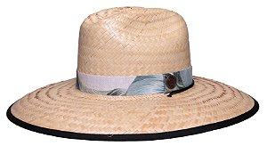 Chapéu de Palha Surf Aba Grande Tecido Preto Faixa Estampada Flowers I