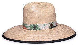 Chapéu de Palha Surf Aba Grande Tecido Preto Faixa Estampada Flowers XV