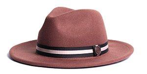 Chapéu Fedora Caramelo Aba Média 6,5cm Feltro Faixa Listrada Coleção Stripes II