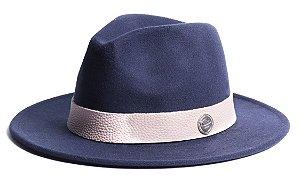 Chapéu Fedora Azul Marinho Aba Média 7cm Feltro Faixa Rugosa Branca