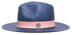 Chapéu Fedora Azul Marinho Aba Média 7cm Palha Shantung Faixa Animale Rosa