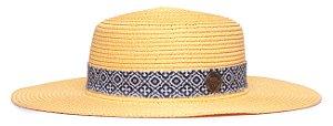 Chapéu Palheta Amarelo Palha Aba Maleável 8cm Faixa Ethnic Azul