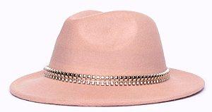Chapéu Fedora Bege Aba Média 6,5cm Feltro Corrente Dourada Cristal