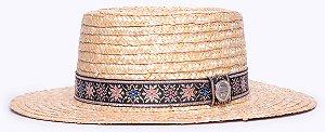 Chapéu Boater Palheta Aba Média Palha Dourada Faixa Arabesco III