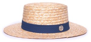 Chapéu Boater Palheta Aba Média Palha Dourada Faixa Macramê Azul