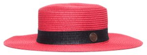 Chapéu Palheta Vermelho Aba Maleável 8cm Palha Faixa Estampa Palha Preta