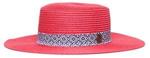 Chapéu Palheta Vermelho Aba Maleável 8cm Palha Faixa Ethnic Azul