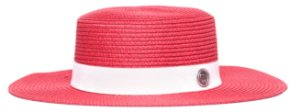 Chapéu Palheta Vermelho Aba Maleável 8cm Palha Faixa Animale Branca
