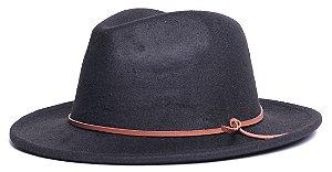 Chapéu Fedora Preto Aba Média 6,5cm Couro V Caramelo