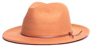 Chapéu Fedora Laranja Aba Média 6,5cm Couro V Caramelo