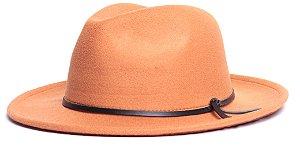 Chapéu Fedora Caramelo-Claro Aba Média 6,5cm Couro V Preto