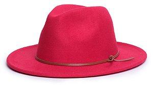 Chapéu Fedora Vermelho Aba Média 7cm Couro V Caramelo