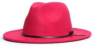 Chapéu Fedora Vermelho Aba Média 7cm Couro V Preto