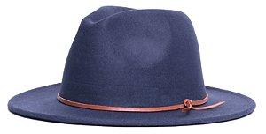 Chapéu Fedora Azul Marinho Aba Média 7cm Couro V Caramelo