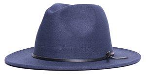 Chapéu Fedora Azul Marinho Aba Média 7cm Couro V Preto