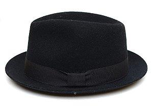 Chapéu Fedora Preto Aba Curta Clássico 4,5cm