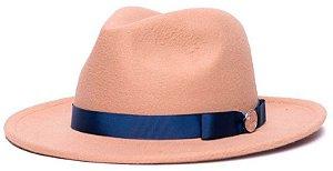 Chapéu Fedora Feltro Bege Aba Média 6,5cm Faixa Laço Fino Azul marinho - Coleção Gorgurão