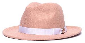 Chapéu Fedora Bege Aba Média 6,5cm Gorgurão Laço Fino Branco