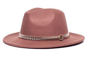 Chapéu Fedora Caramelo Aba Média 6,5cm Feltro Coleção Metalizada Dourada