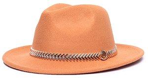 Chapéu Fedora Laranja Aba Média 6,5cm Feltro Coleção Metalizada Dourada
