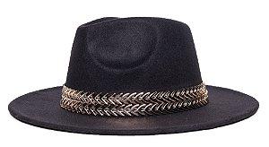 Chapéu Fedora Preto Aba Média Reta 7cm Faixa Double Dourada - Coleção Metalizada