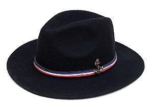 Chapéu Fedora Preto Náutico Customizado