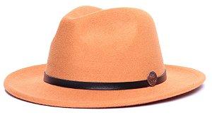 Chapéu Fedora Laranja Aba Média 6,5cm Feltro Coleção Couro Fino Preto