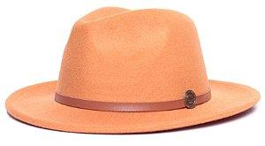 Chapéu Fedora Laranja Aba Média 6,5cm Feltro Coleção Couro Fino Caramelo