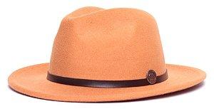 Chapéu Fedora Laranja Aba Média 6,5cm Feltro Coleção Couro Fino Marrom
