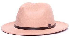 Chapéu Fedora Bege Aba Média 6,5cm Feltro Coleção Couro Fino Marrom
