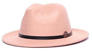 Chapéu Fedora Bege Aba Média 6,5cm Feltro Coleção Couro Fino Preto