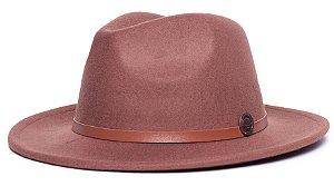 Chapéu Fedora Caramelo Aba Média 6,5cm Feltro Coleção Couro Fino Caramelo