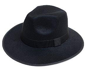 Chapéu Fedora Preto Aba Média Curva 7,5cm