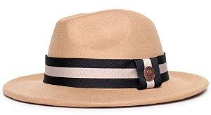 Chapéu Fedora Feltro Bege Aba Média 6,5cm Faixa Preto e Areia - Coleção Stripes