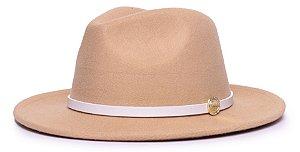 Chapéu Fedora Bege Aba Média 6,5cm Feltro Coleção Couro Fino Branco Edição Limitada