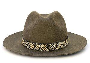 Chapéu Fedora Verde Musgo Custom Étnico