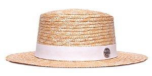 Chapéu Boater Palheta Aba Média Palha Dourada Coleção Colors Faixa Branca