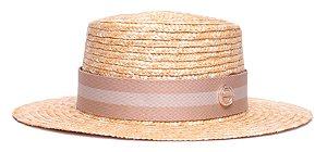 Chapéu Boater Palheta Aba Média Palha Dourada Coleção Stripes Bege e Nude