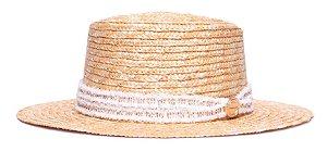Chapéu Boater Palheta Aba Média Palha Dourada Coleção Fryed Branca