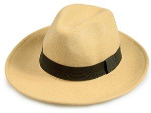 Chapéu Fedora Bege Aba 8cm 100% Lã