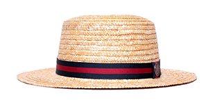 Chapéu Boater Palheta Aba Média Palha Dourada Coleção Stripes Azul Marinho e Vermelho