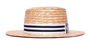Chapéu Boater Palheta Aba Média Palha Dourada Coleção Stripes Branco e Azul Marinho