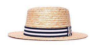 Chapéu Boater Palheta Aba Média Palha Dourada Coleção Stripes Azul Marinho e Branco