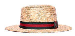 Chapéu Boater Palheta Aba Média Palha Dourada Coleção Stripes Verde e Vermelho