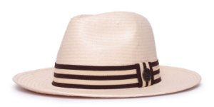 Chapéu Fedora Bege Aba Média 7cm Palha Shantung Coleção Stripes