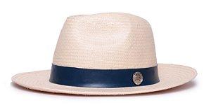 Chapéu Fedora Bege Aba Média 7cm Palha Shantung Coleção Couro Colors