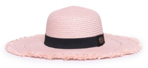 Chapéu Floppy Rosa Aba Maleável 10cm Palha Faixa Clássica